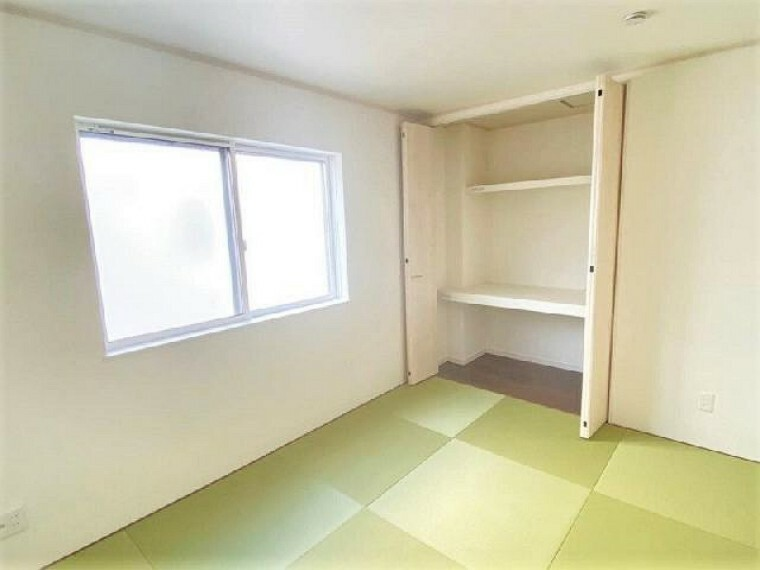 A号棟 和室(施工例同仕様)・・・玄関から直接に入ることができる和室は、お客様をお通ししやすくなっています。