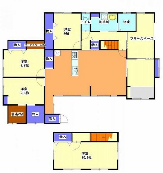 間取り図 【リフォーム中】4SLDKの間取りです。対面式システムキッチン、和室から洋室へ変更することで今風の間取りに仕上げます。4~5人家族にぴったりですよ。