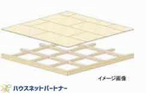 構造・工法・仕様 1階と2階の床に厚さが24mmの合板を敷く「剛床工法」を選びました。これは構造用面材を土台と梁に直接留めつける工法で、床を一つの面として家全体を一体化することで、横からの力にも非常に強い構造となります。家屋のねじれを防止し、耐震性に優れた効果を発揮します。