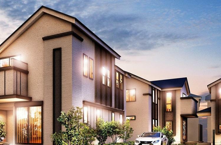 完成予想図(外観) 建物デザイン 水平・垂直ラインを活かし、街並み全体に統一感をもたせた外観デザイン
