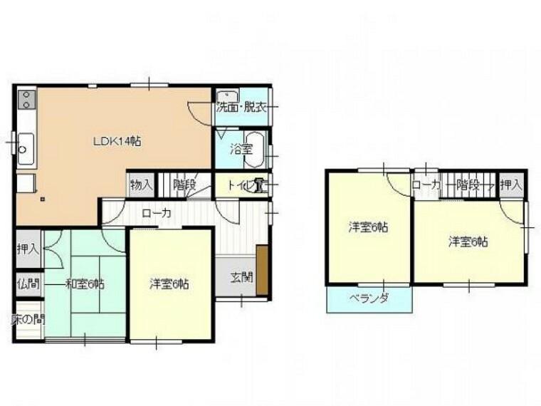 間取り図 リフォーム後の間取り図です(予定) 1階東側和室、2階和室は洋間に変更いたします。