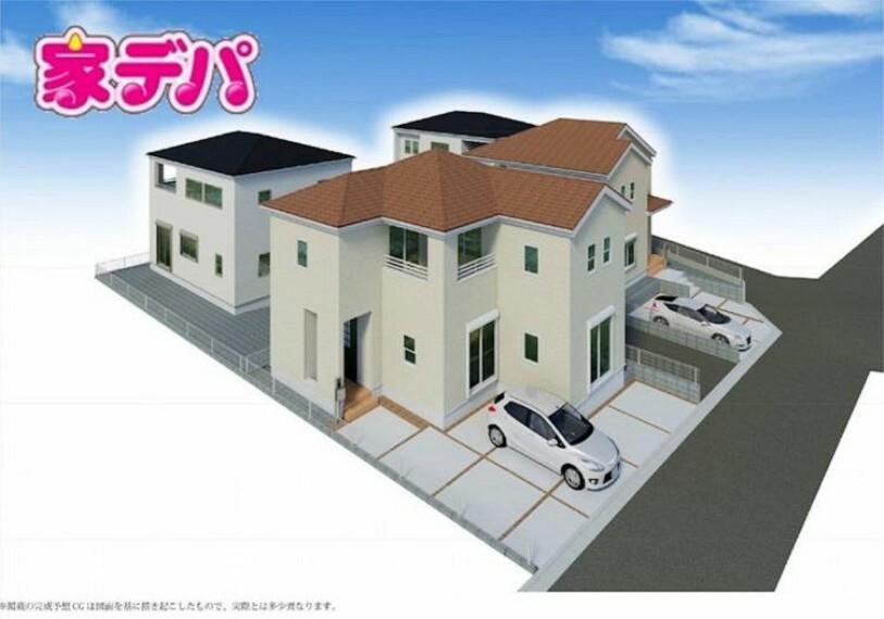 完成予想図(外観) 閑静な住宅地収納豊富で家族が増えても安心(2021.2月撮影)