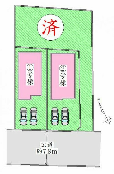 区画図 配置図 駐車並列2台可能。