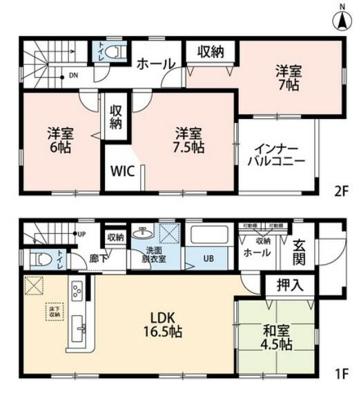 間取り図 4LDKとウォークインクローゼットでゆとりのある暮らしが実現。リビングは隣にある和室を合わせると21帖以上の開放感あふれる空間です。2階は洋室が3部屋あるので、お子様が大きくなっても安心ですね。