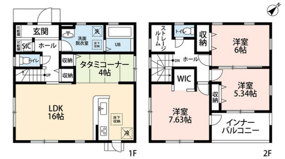 間取り図 3LDKとウォークインクローゼットでゆとりのある暮らしが実現。2階は洋室が3部屋、ストレージルームもあるので、お子様が大きくなっても安心ですね。