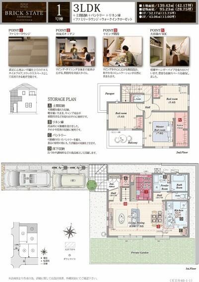 間取り図 1号棟  3LDK+土間収納+パントリー+リネン庫+ファミリーラウンジ+ウォークインクローゼット