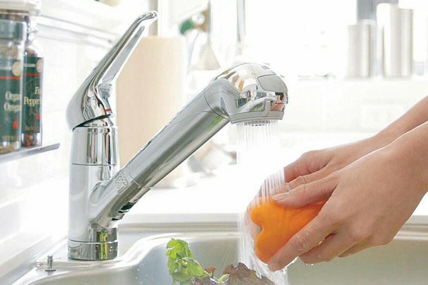 浄水器付き一体型蛇口  蛇口と浄水器を一体化。浄水器ごとホースが引き出せるのでシンクの掃除も簡単