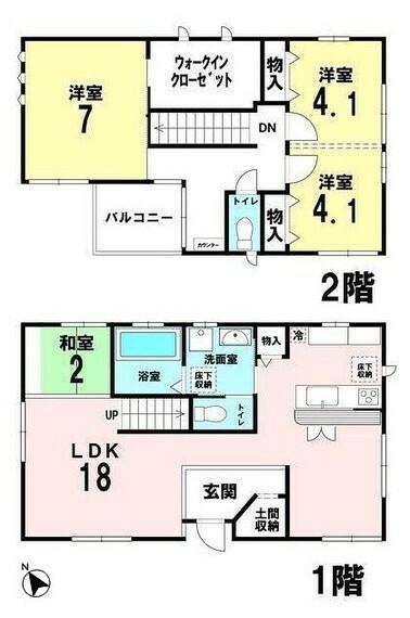 間取り図 土地面積:86.30平米、建物面積:89.43平米、2(3)LDK+バルコニー