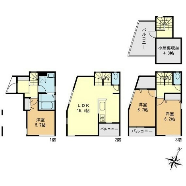 間取り図 3LDK 敷地面積49.07平米 建物面積105.15平米 図面と現況が異なる場合は現況を優先とします。