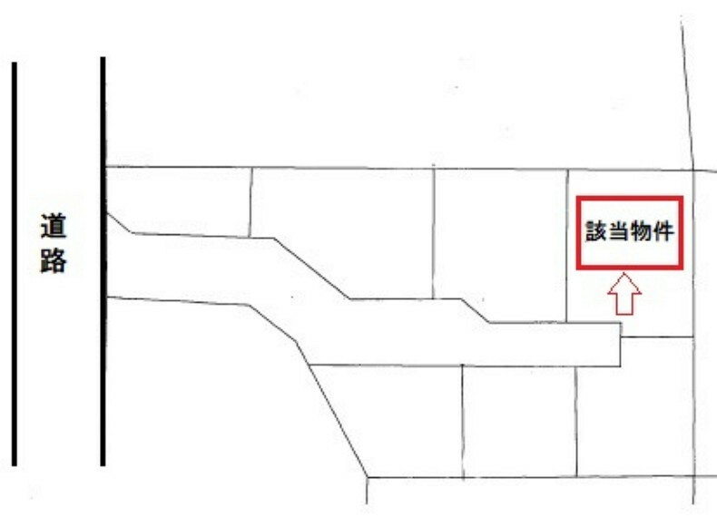 区画図 【全体区画図】道路から東の奥に入っていくと、本住宅がございます。閑静な街並みにございますので、静かにのびのびと生活できますよ。