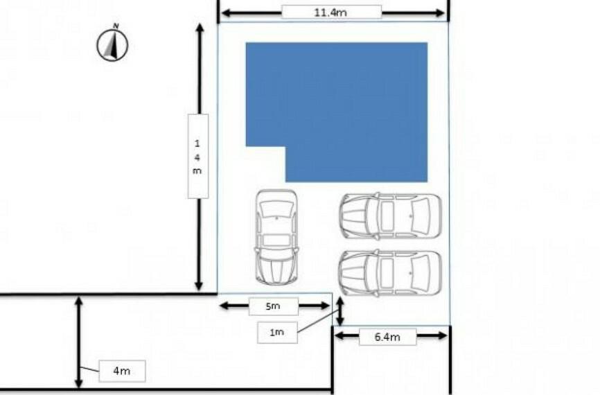 区画図 【駐車スペース】駐車場は整地後、砂利引き予定です。南東側に並列2台、南西側に縦列1台の計3台駐車可能です。また、駐車3台停めない場合は、お庭としても活用できますので、趣味等にもお使いいただけますよ。
