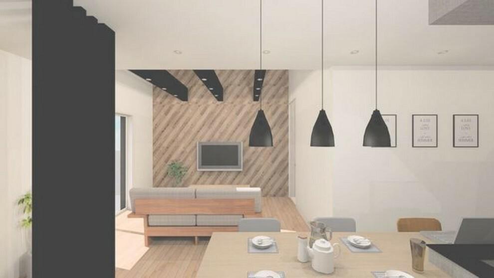 居間・リビング 内観パース、対面式カウンターキッチンでお子様の様子が見守れます。カウンタートップは耐熱性に優れており、日ごろのお掃除もふき取るだけでOK。