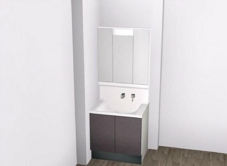 完成予想図(内観) 【A洗面台】大容量収納できる3面鏡!内部コンセントは電動歯ブラシやシェービングの充電に便利。