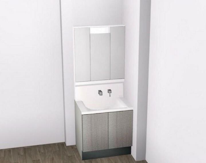 完成予想図(内観) 【B洗面台】大容量収納できる3面鏡!内部コンセントは電動歯ブラシやシェービングの充電に便利。
