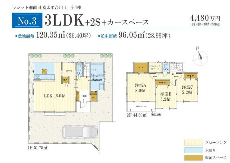 参考プラン間取り図 No.3間取りプラン 価格: 4480万円間取り: 3LDK+2S土地面積: 120.35m2建物面積: 96.05m2