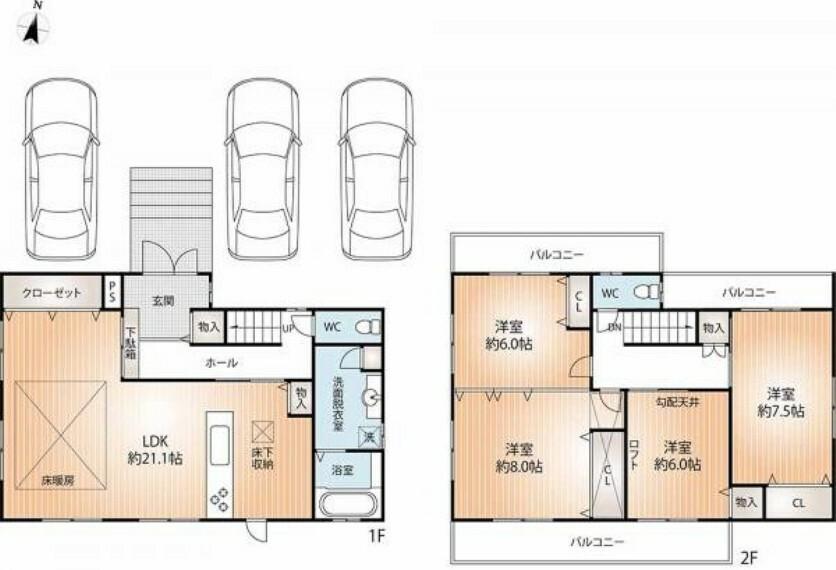 間取り図 間取りは1階に広々LDK、2階に洋室4部屋の4LDKです。また駐車場も3台並列駐車が可能ですので、来客時にも安心です。