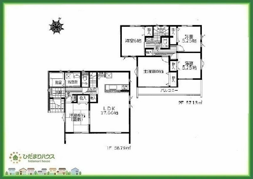 間取り図 広々5LDKの間取りは、家族が増えても住み続けられるお家です