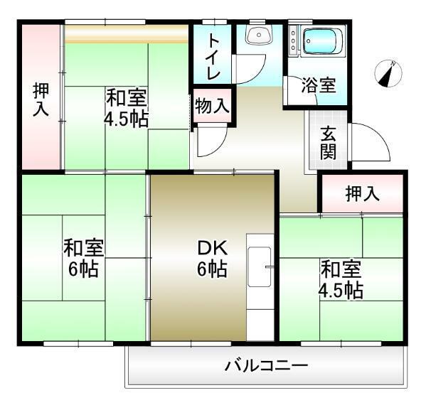 間取り図 3DK 専有面積48.85平米 バルコニー5.94平米