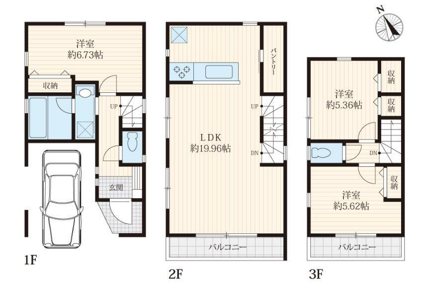 間取り図 A号棟間取図LDK19.9畳の大型3LDKカーポート付き延床101.84平米5080万円(税込)