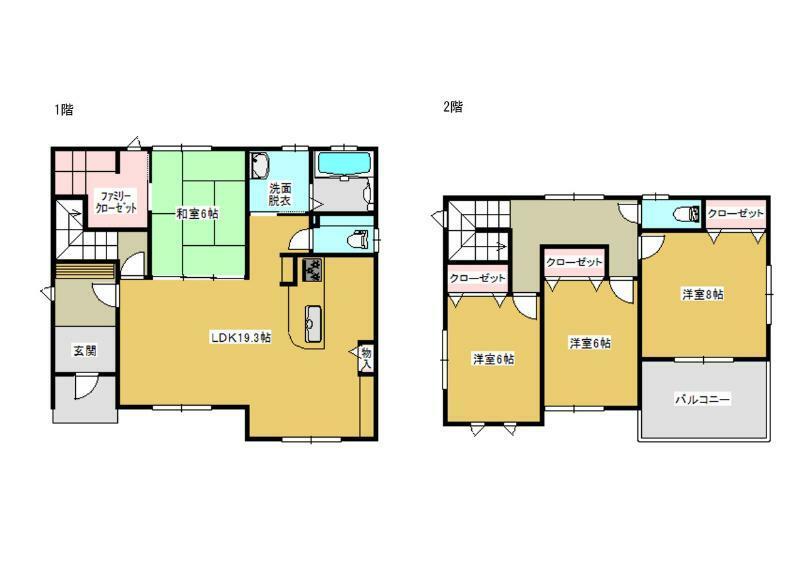 間取り図 1階はリビングと続き間で使える広い収納付きの和室があり老後も暮らしやすい設計です○家族が集まるリビングスルー階段もGood○