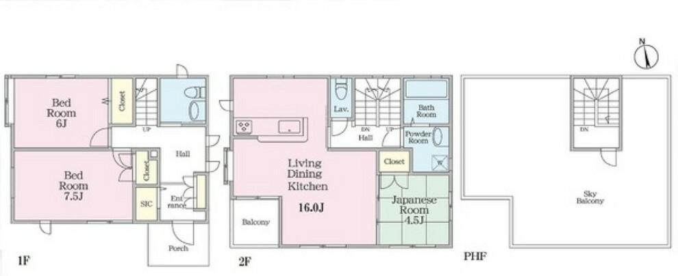 間取り図 ヘーベルハウス施工の中古住宅。南ひな壇でスカイバルコニー付き。空家のため、いつでもご覧いただけます。