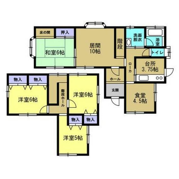 間取り図 【リフォーム済間取り図】5DKの2階建て住宅です。閑静な住宅街にあります。部屋数が多いので大家族でもお住まいになることができます。