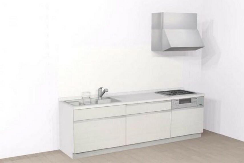 【同仕様写真】キッチンは永大産業製の新品に交換します。水はねを抑える静音シンクを標準採用。家族との会話を妨げません。