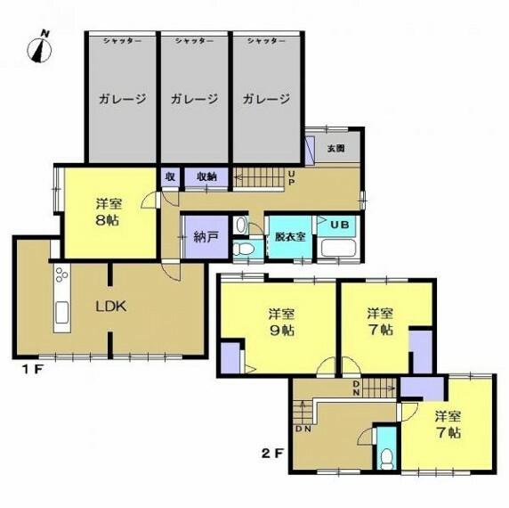 間取り図 【リフォーム予定間取図】間取り変更にて、二階和室は洋室に変更いたします。水回り設備はすべて新品交換いたしますので快適に過ごしていただけます。