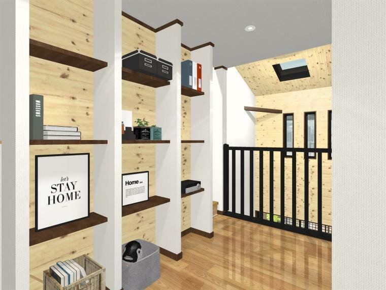 完成予想図(内観) 2階ホールには見せる収納棚を設置。家族共有の収納棚としてや、消耗品のストック置き場としても便利ですね。