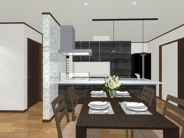 完成予想図(内観) キッチン袖壁にはガラスモザイクタイルを施工。落ち着いた色合いでノスタルジックな印象のダイニング空間を演出。