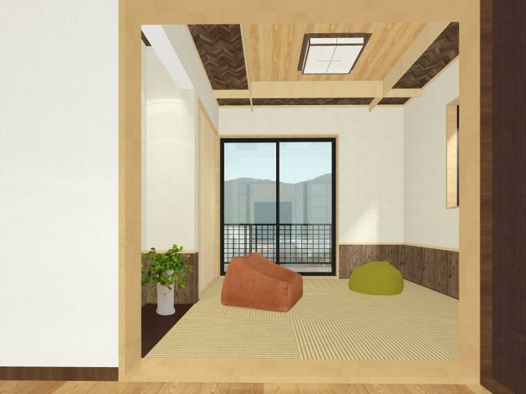 完成予想図(内観) 客用布団の収納やリビング収納としても使えるクローゼット付。シンプルスタイルの床の間をそなえています。