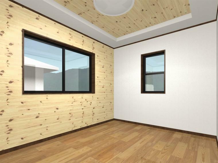 完成予想図(内観) (洋室6.5帖)各居室にも無垢材をふんだんに使用しています。