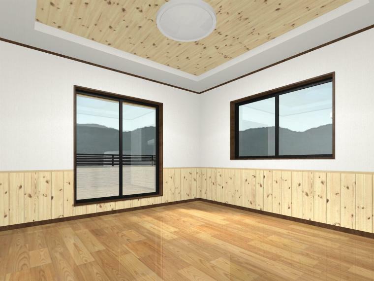 完成予想図(内観) (洋室8帖)腰壁が可愛いバルコニーに面した居室。吹抜に面した窓とあわせて3面採光となっております。