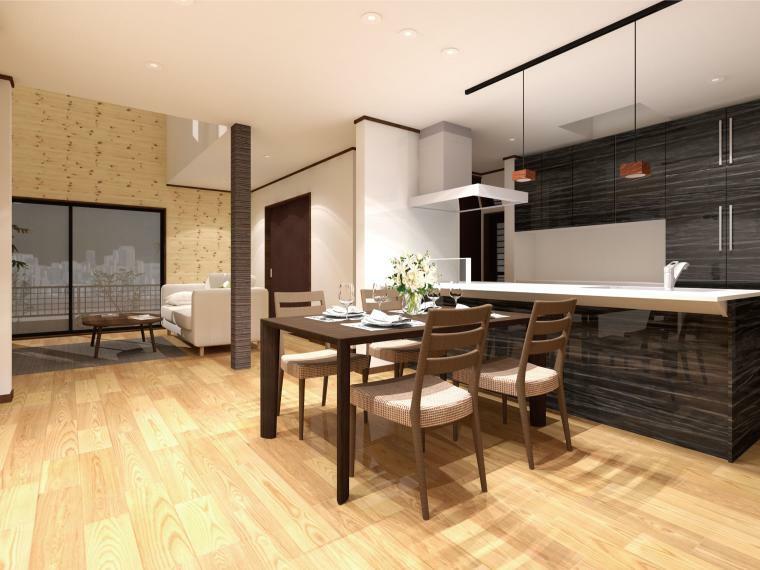 完成予想図(内観) 自然素材を贅沢に使用した天然木の家が誕生します。床材は無垢のオークフローリングで、素足で心地よくお過ごしいただけます。