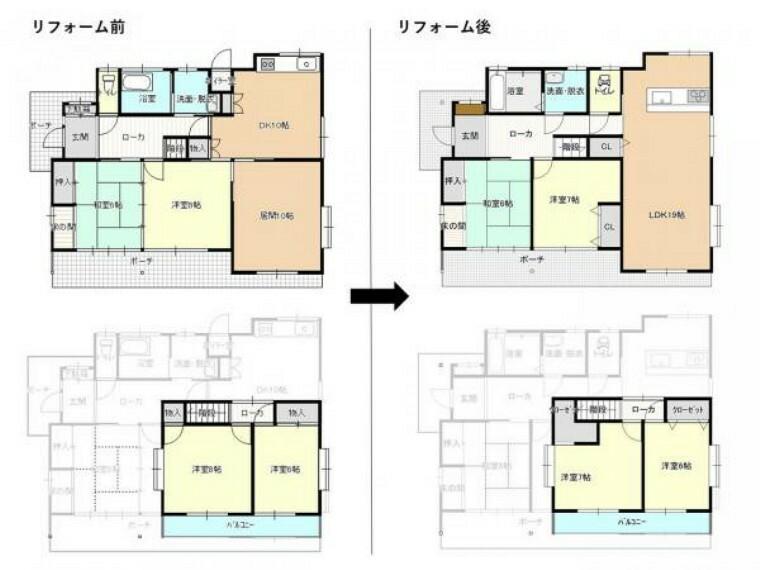 間取り図 【リフォーム企画】LDKの作成、収納の増設、水回りの拡張など間取り変更を行います。また、玄関の交換も行う予定です。続き間もなくなるので、個室としての使い勝手も向上しますね。
