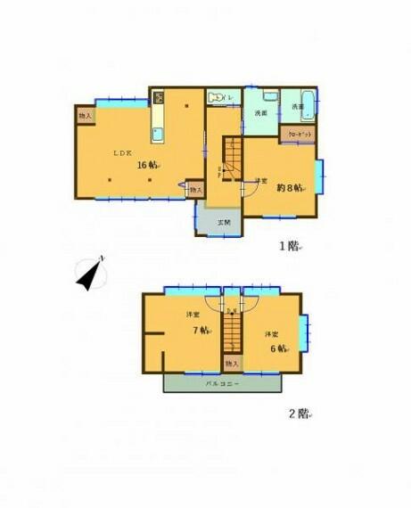 間取り図 リフォーム後間取りです。大きな窓のあった和室2部屋をリビングとし、3LDKのお家へと完成いたしました。