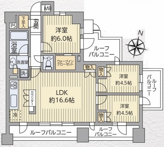 間取り図 【東南北三方角部屋】各方位、高い建物がないため開放感のある部屋位置です!是非実際にご覧下さい。
