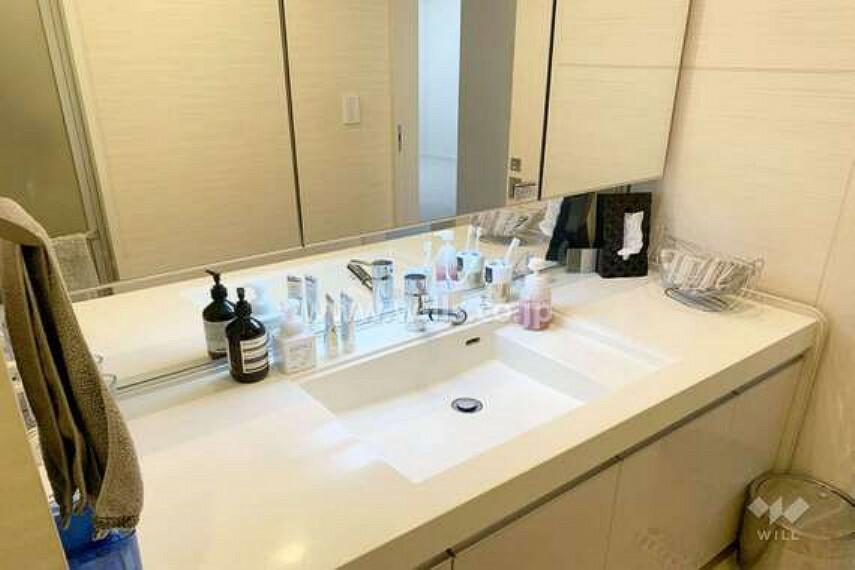 洗面化粧台 洗面室。[2021年3月12日撮影]