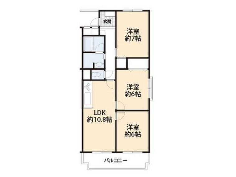 間取り図 全居室6帖以上、ゆとりある間取です。