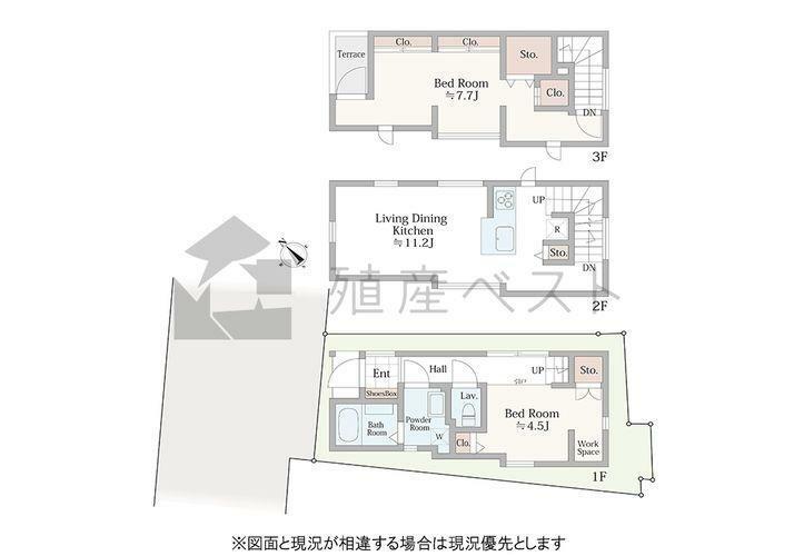 間取り図 ディンクスにオススメ!1階の居室はフレキシブルウォール採用。詳細設備仕様はスタッフまで。