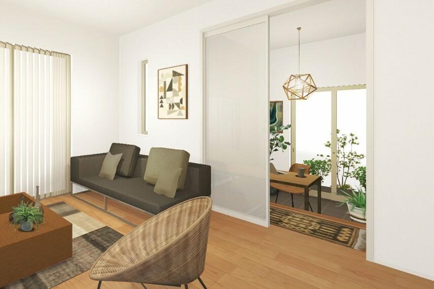 居間・リビング 【便利に使える土間リビング】  リビングと外を繋ぐ空間にタイル貼りの土間を設置。ホームオフィスをはじめ、DIYなどの趣味などにも利用できる便利な空間です。/Plan6.11(HOBBY)