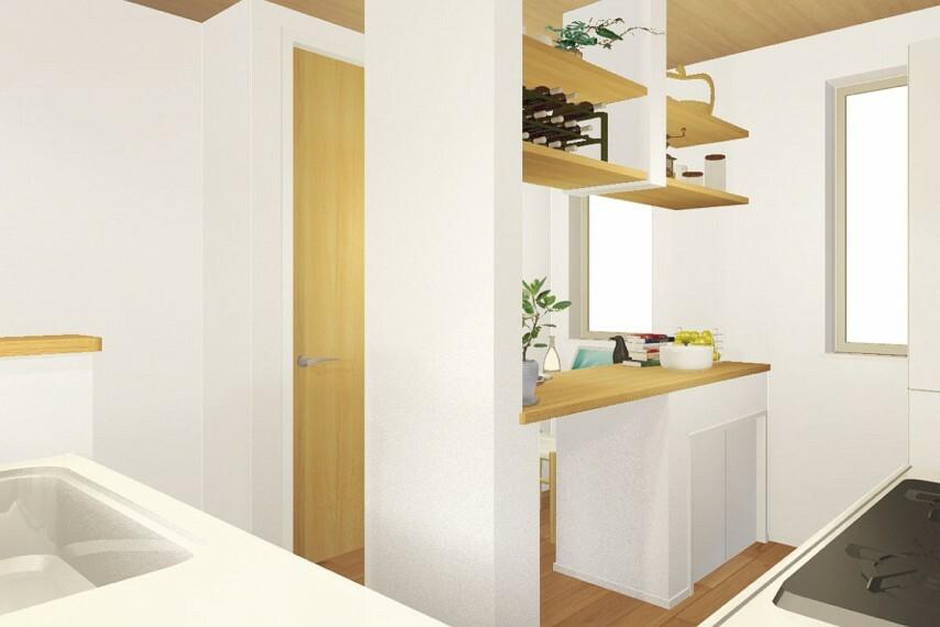 キッチン 【クッキングカウンター付キッチン】  料理が趣味の方に魅力的な広めのクッキングカウンター。調理中の材料を工程順に仮置きしたり、効率的に時短を叶えてくれる便利なアイテムです。/Plan2(HOBBY)
