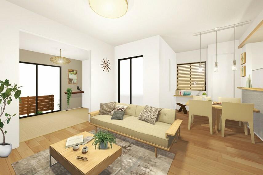 居間・リビング 【PLUS ONE〔プラスワン〕】  壁を追加して、2階の1部屋を2部屋にできる4LDK対応可能なプランをご用意しました。※壁追加は有料オプション。(有料オプション:13号棟)