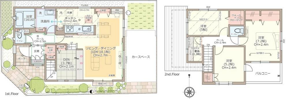 間取り図 【10号棟】3LDK+DEN+書斎+玄関クローク+ウォークインクローゼット