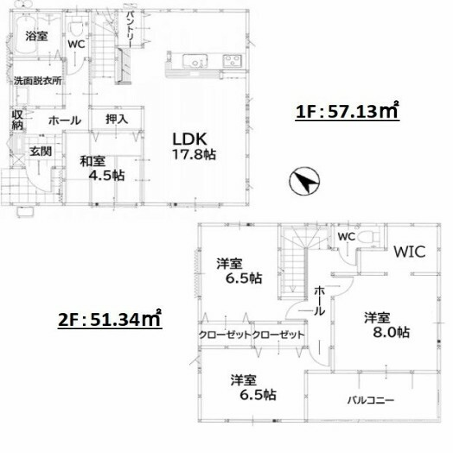 間取り図 4LDKです。主寝室には広々WICあり。