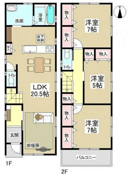 間取り図 (※間取り内の家具等のレイアウトはイメージ図です。)