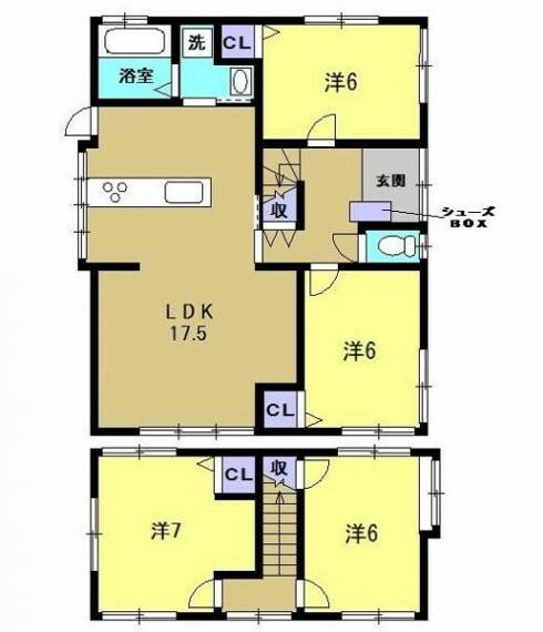 間取り図 【間取り図】4LDKで広々とした18帖のリビングが特徴的な明るいお家に仕上げていきます。一部間取り変更して生活しやすく仕上げていきます。全居室に収納がついているので家族一人ひとりの荷物を収納できます。