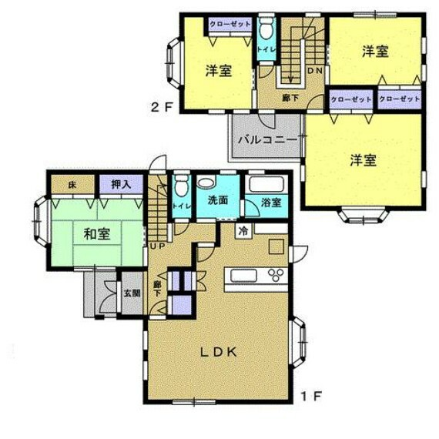 間取り図 間取りは1階に和室が1部屋、2階に洋室が3部屋の4LDKです。4~5人家族におすすめです。