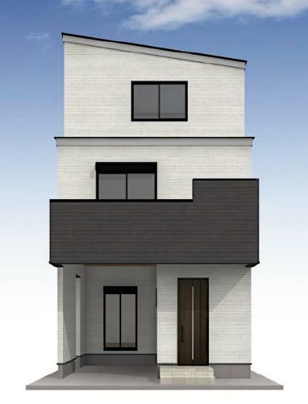 完成予想図(外観) 外壁材は、優れた強度で汚れが付きにくい「ニチハモエンサイディング」を使用。
