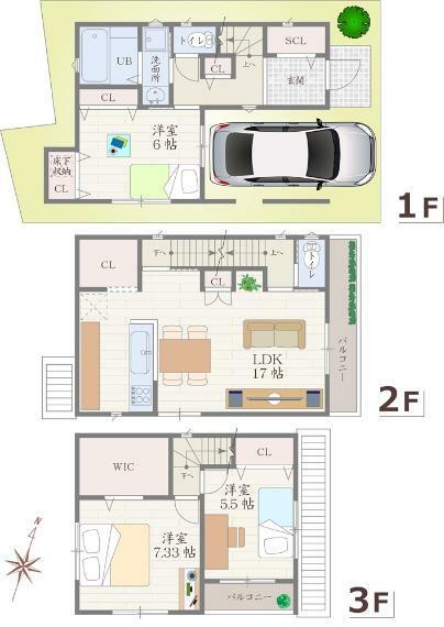 間取り図 全居室収納に、シューズクローゼットやウォークインクローゼットも備えた、収納力の高いお家です。